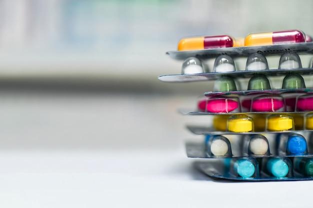 Medicine capsule pack at the pharmacy drugstore Premium Photo