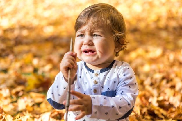 Medium shot crying baby with stick Free Photo
