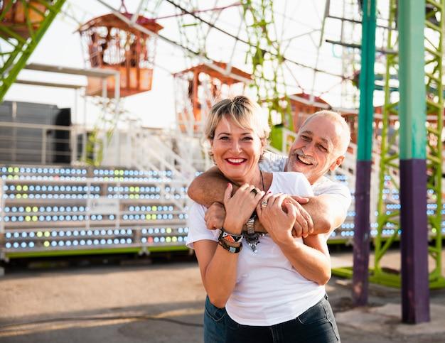 Medium shot happy woman looking at camera Free Photo