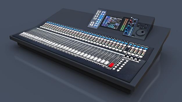 회색 배경에 스튜디오 작업 및 라이브 공연을위한 중간 크기의 회색 믹싱 콘솔. 3d 렌더링. 프리미엄 사진
