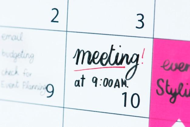 Meeting calendar reminder Free Photo
