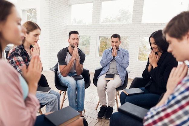 Meeting people on group therapy. group psychotherapy session Premium Photo