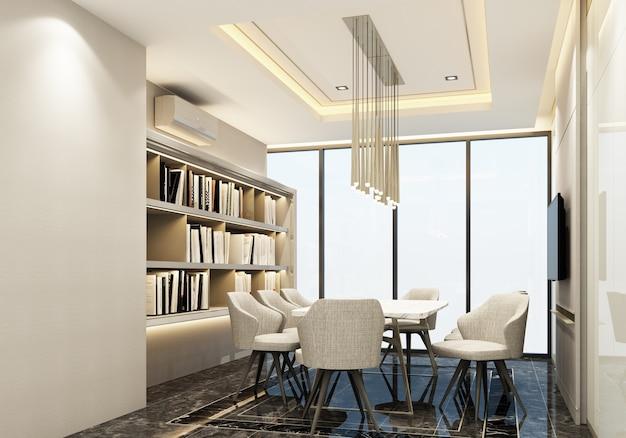 会議室のモダンで豪華なスタイルのインテリアデザイン3 dレンダリング Premium写真