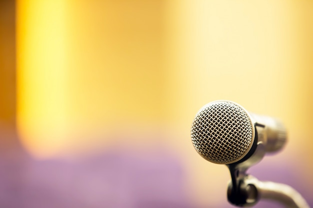 Meeting room and professional meeting microphone. Premium Photo