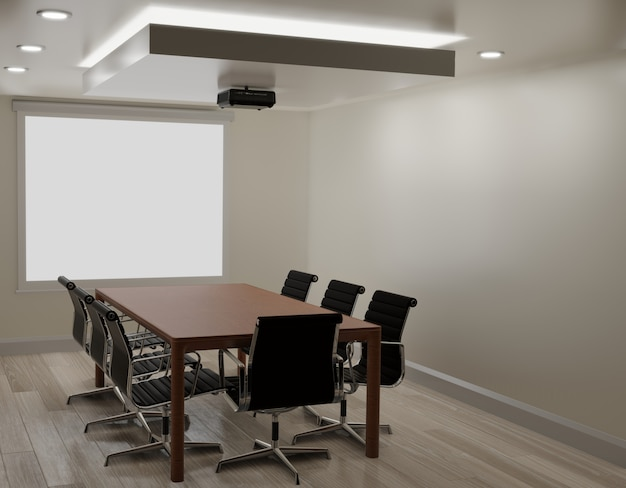 Meeting room with white wall, wooden floor ,projector machine copy space 3d rendering Premium Photo