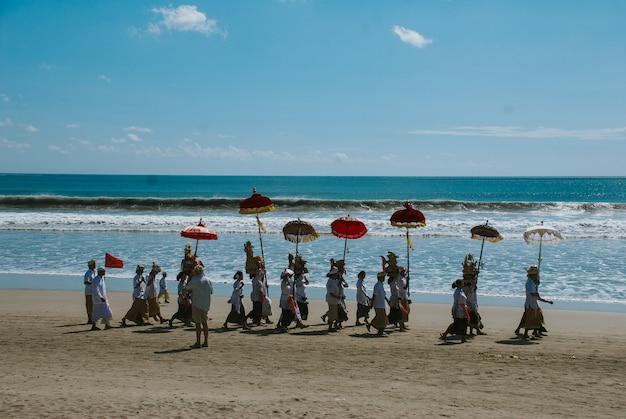 Melasti ceremony in bali Premium Photo