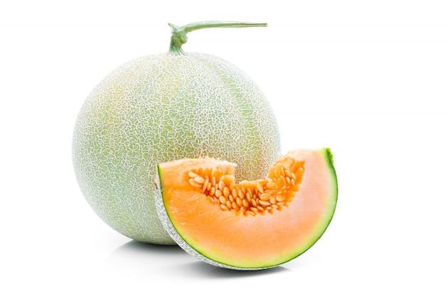 Melon fruit on a white background Premium Photo