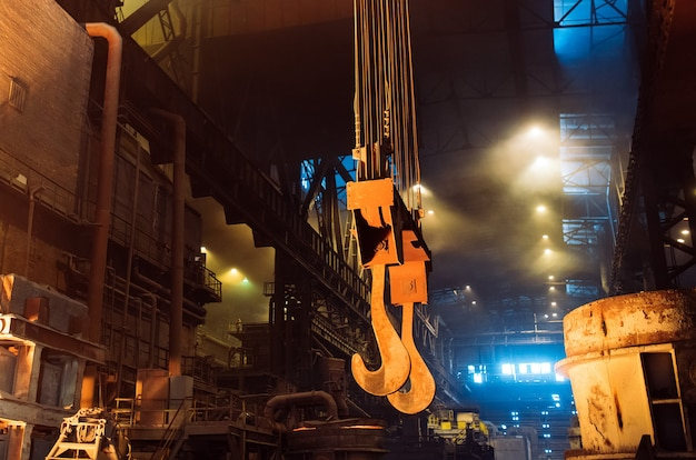 Melting of metal in a steel plant. metallurgical industry. Premium Photo