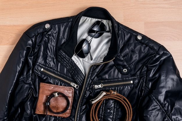 Men casual trendy fashion with black jacket and accessories Free Photo