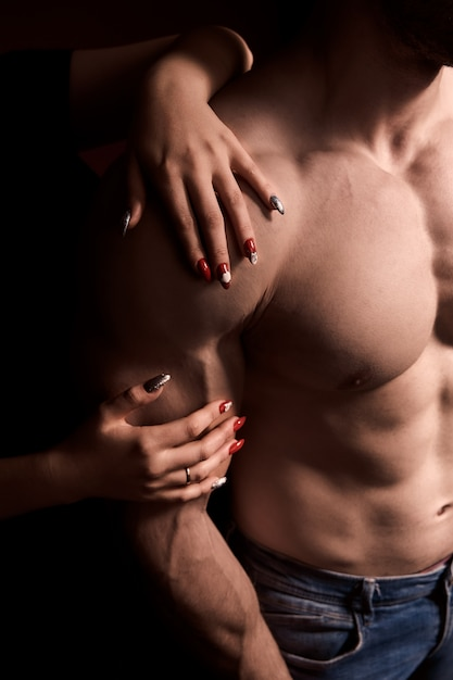 Men's breasts without hair. depilations chest inflated men hard athlete Premium Photo