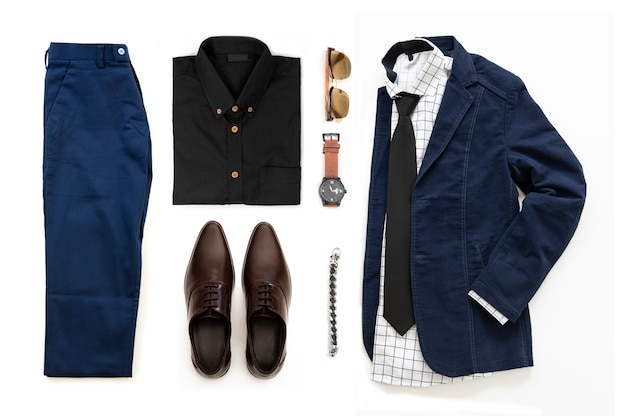 Men's casual outfits set with brown shoes , watch,  trousers, sunglasses, office shirt, blue jacket, bracelet and bracelet isolated on a white background, top view Premium Photo