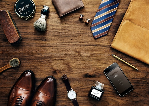 Men's collection of things used daily Premium Photo
