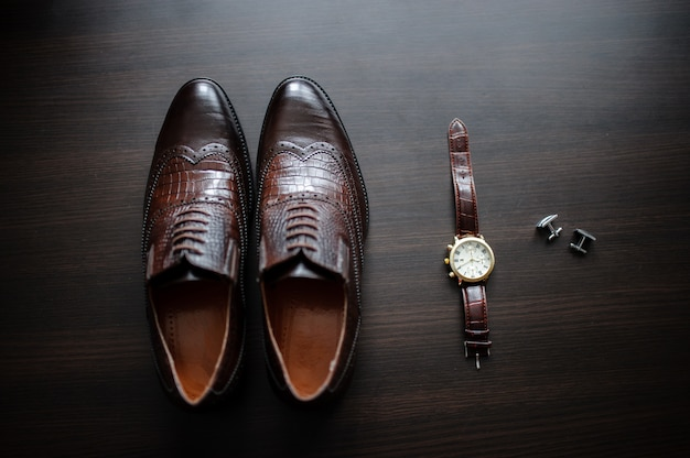 Men's watches and shoes Premium Photo