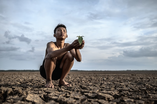 Men sit in their hands, holding seedlings on dry ground and looking at the sky. Free Photo