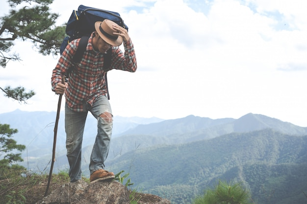 Men stand to watch mountains in tropical forests with backpacks in the forest. adventure, traveling, climbing. Free Photo