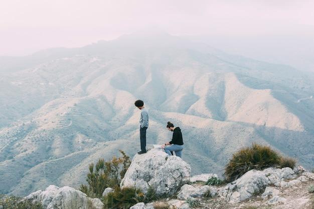 Men trekking in nature Free Photo