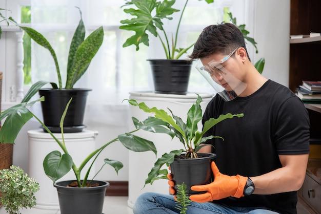 オレンジ色の手袋を着用し、屋内で木を植える男性。 無料写真