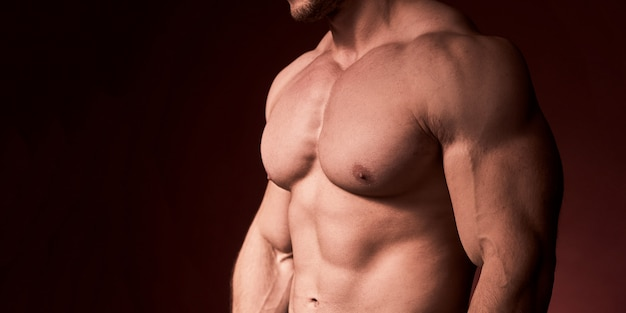 Men without chest hair. muscular chest pumped men Premium Photo