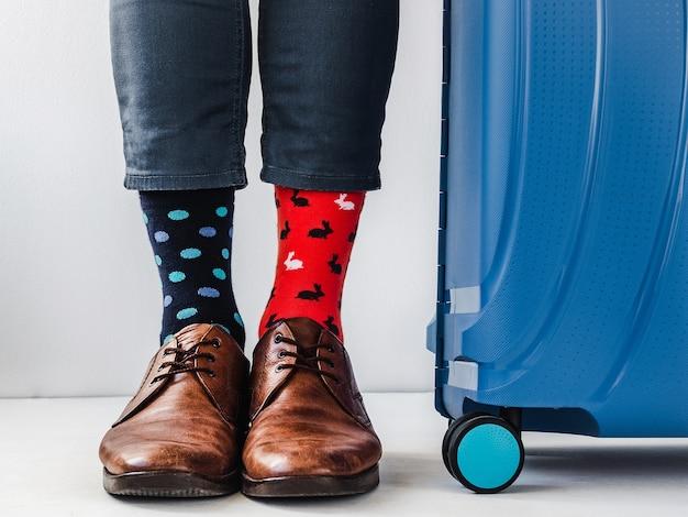 Mens legs trendy shoes and bright socks Premium Photo