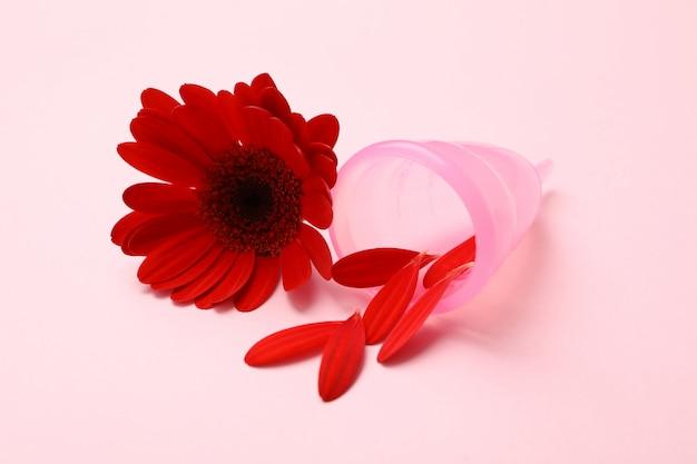Менструальная чаша и гербера на розовой поверхности, крупным планом Premium Фотографии