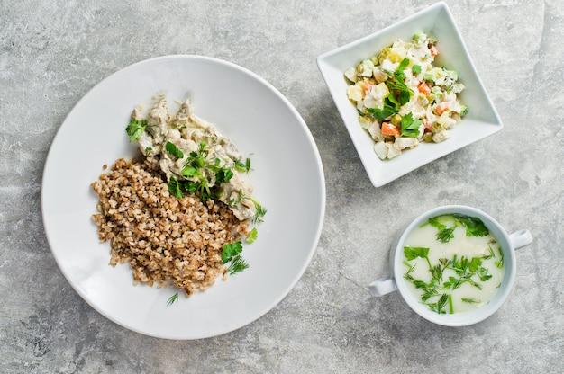 Menu business lunch restaurant Premium Photo