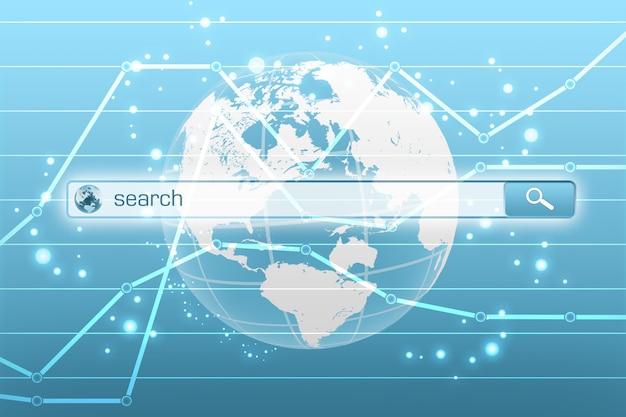 Меню глобального поиска в экономическом интернете. Premium Фотографии