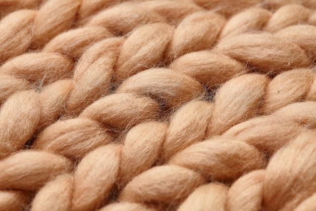 Merino wool hand knitted blanket fragment Premium Photo