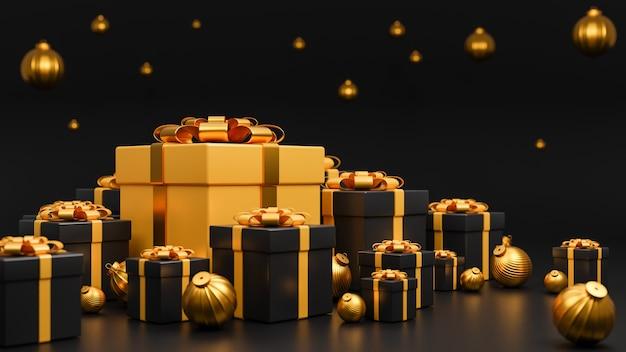 기쁜 성 탄과 새 해 복 많이 받으세요 배너 럭셔리 스타일., 황금 크리스마스 공 현실적인 금색과 검은 색 선물 상자 프리미엄 사진