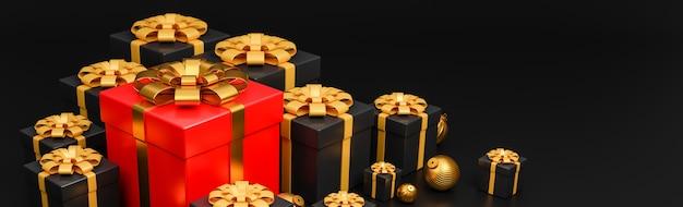 기쁜 성 탄과 새 해 복 많이 받으세요 배너 럭셔리 스타일., 황금 크리스마스 공 현실적인 빨간색과 검은 색 선물 상자 프리미엄 사진