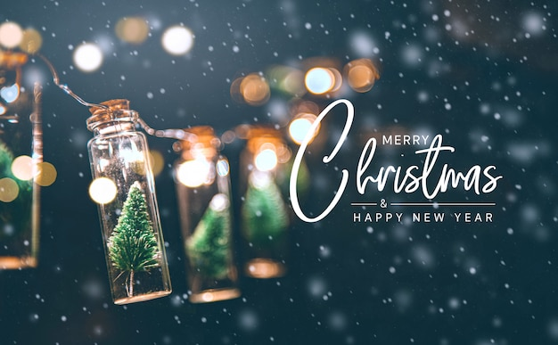 Merry christmas and happy new year concept, close up, elegant christmas tree in glass jar decoration. Premium Photo