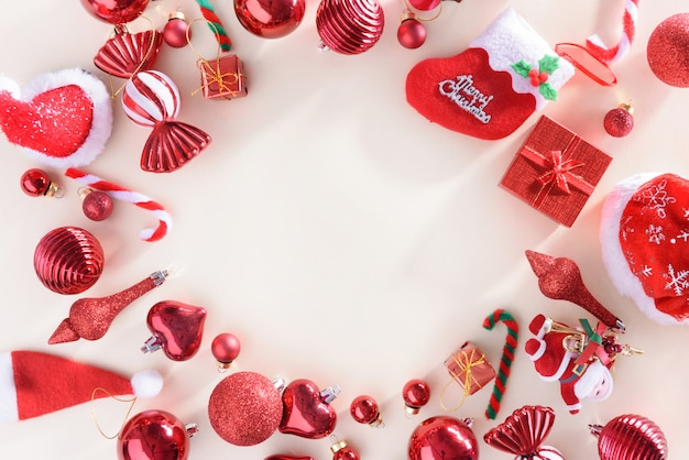 Merry christmas and happy new year concept with celebration balls red color Premium Photo