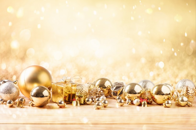 Merry christmas and happy new year concept with gold color other decoration Premium Photo