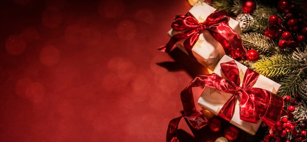 Merry christmas and happy new year, holidays greeting card with blurred bokeh background Premium Photo