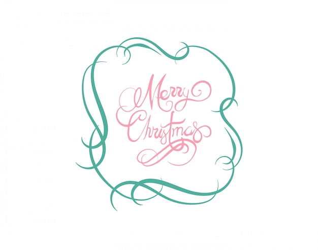 Merry Christmas In Cursive.Merry Christmas Message Vector In Cursive Green And Pink