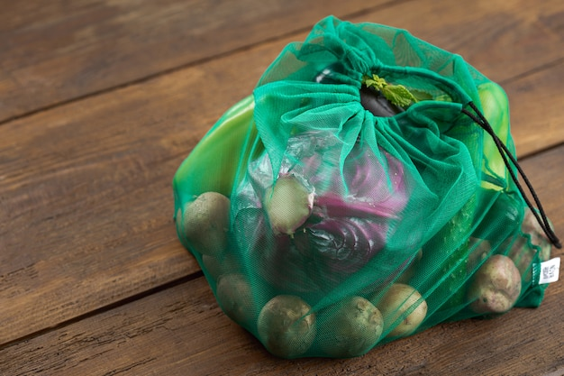 Mesh bags for vegetables of healthy food Premium Photo