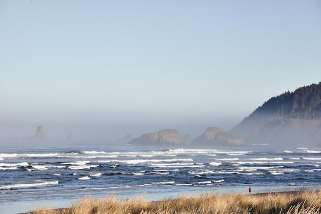 Scenario affascinante delle onde dell'oceano a cannon beach, oregon, usa Foto Gratuite