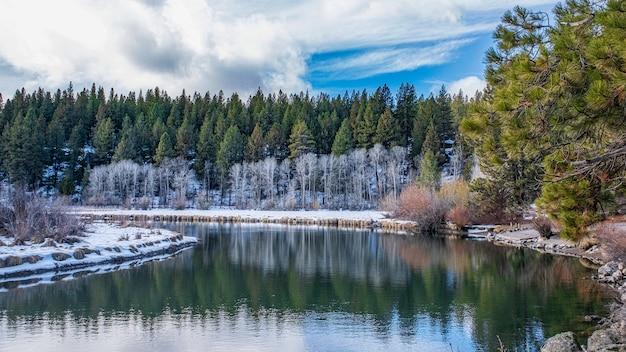 湖の周りの美しい雪に覆われた岩の多い公園の魅惑的なショット 無料写真