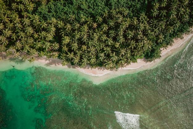 Завораживающий вид на побережье с белым песком и бирюзовой чистой водой в индонезии. Бесплатные Фотографии