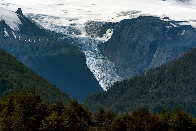 木々や雪に覆われた山々の魅惑的な景色-背景に最適 無料写真