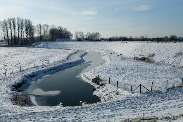オランダのふわふわの雪に覆われた魅惑的な冬の風景 無料写真