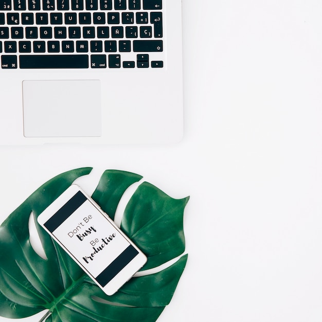 Message on mobile screen over the green monstera leaf near the laptop over white desk Free Photo