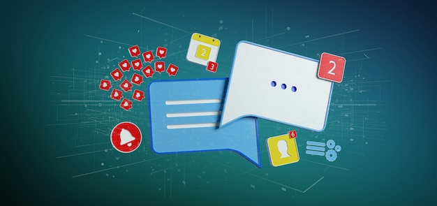 Message and notifications of social media 3d rendering Premium Photo