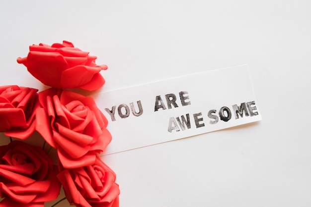 Message you are awesome with flowers Free Photo