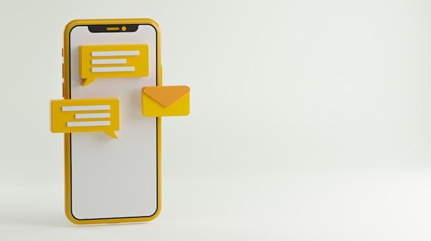 Концепция приложения для обмена сообщениями. социальные медиа фон копией пространства 3d-рендеринга Premium Фотографии