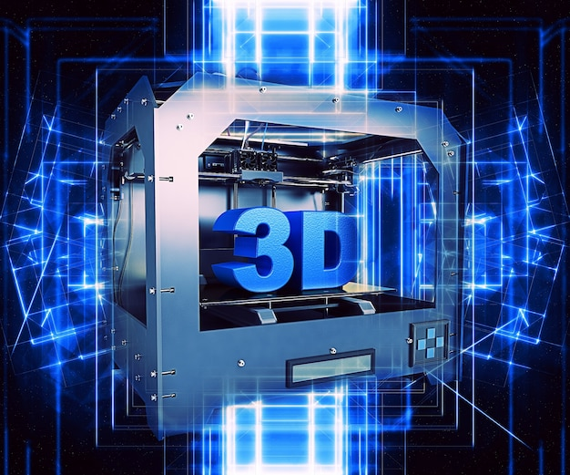 Metal 3d printer with abstract lines Free Photo