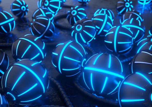 輝くネオンライトが付いた金属製のボール。ハイテク3dレンダリングの背景。 Premium写真