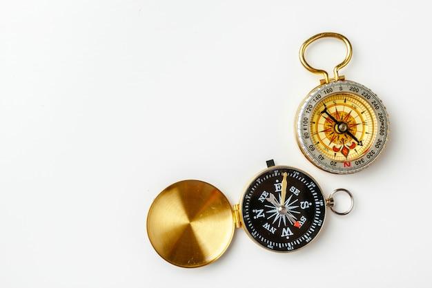 Metal compass isolated on white Premium Photo
