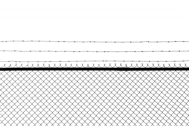 Металлический забор с колючей проволокой, изолированный на белом фоне Premium Фотографии