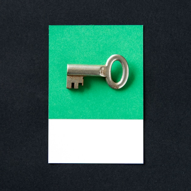 Metal key object as security icon Free Photo