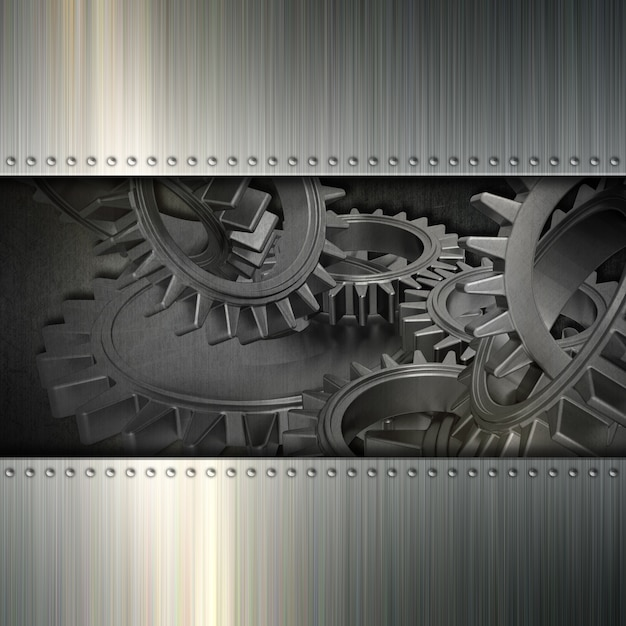 Metal texture with gears Free Photo